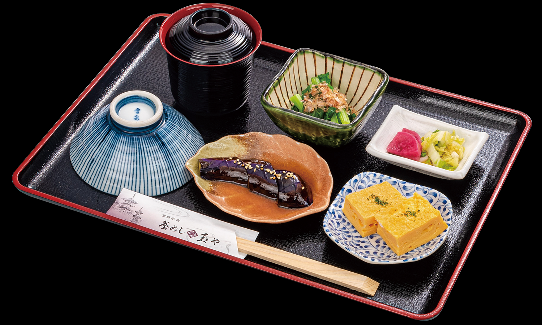 ぼたんセット お好きな釜めし/玉子焼き/季節のお惣菜2品/味噌汁/香の物/